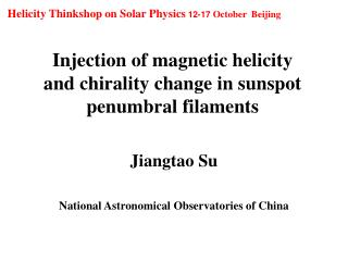 Injection of m a gnetic helicity   and chirality  c hange in sunspot penumbral filaments