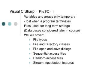 Visual C Sharp – File I/O -  1