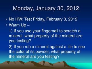 Monday, January 30, 2012