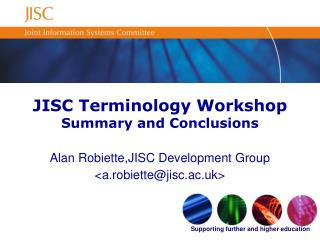 JISC Terminology Workshop Summary and Conclusions