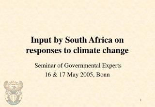 Input by South Africa on responses to climate change