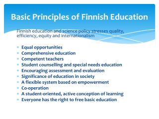 Basic Principles of Finnish Education