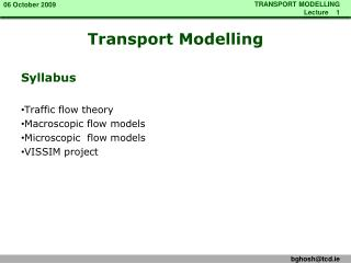 Transport Modelling