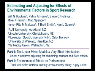 Estimating and Adjusting for Effects of Environmental Factors in Sport  Research