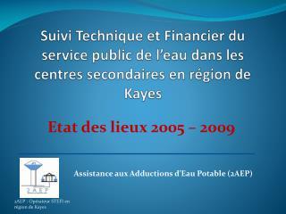 Suivi Technique et Financier du service public de l'eau dans les centres secondaires en région de Kayes