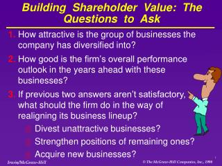 Building  Shareholder  Value:  The  Questions  to  Ask