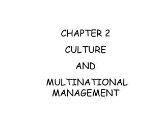 CHAPTER 2 CULTURE  AND  MULTINATIONAL MANAGEMENT