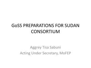 GoSS PREPARATIONS FOR SUDAN CONSORTIUM
