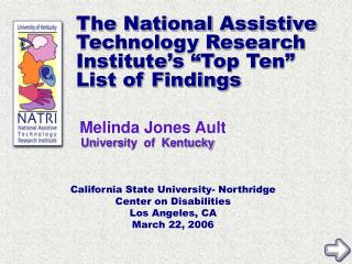 """The National Assistive Technology Research Institute's """"Top Ten"""" List of Findings"""