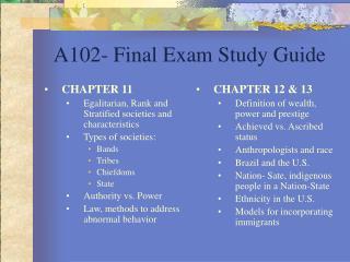 A102- Final Exam Study Guide