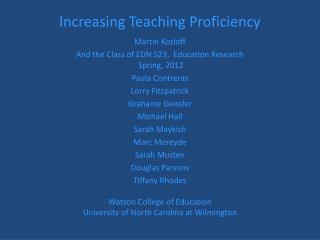 Increasing Teaching Proficiency