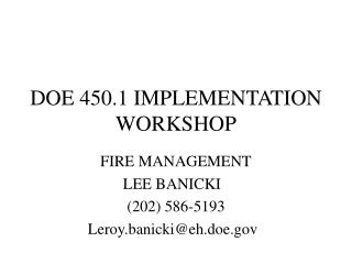 DOE 450.1 IMPLEMENTATION WORKSHOP