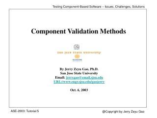 Component Validation Methods