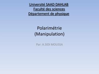 Polarimétrie (Manipulation)