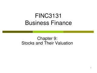 FINC3131 Business Finance