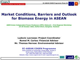 Market conditions and outlook for biomass in ASEAN  Barriers and possible solutions