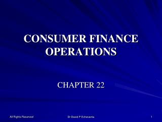 CONSUMER FINANCE OPERATIONS