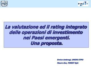 La valutazione ed il rating integrato  delle operazioni di investimento  nei Paesi emergenti. Una proposta.