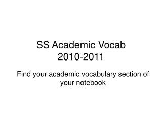 SS Academic Vocab 2010-2011