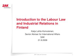 Introduction  to the Labour  Law  and Industrial  Relations  in Finland