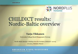 CHILDICT results: Nordic-Baltic overview