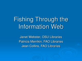 Fishing Through the Information Web