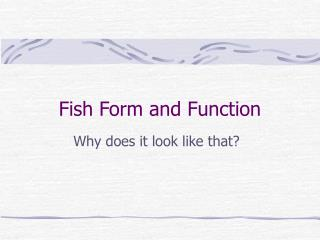 Fish Form and Function