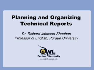 Planning and Organizing Technical Reports