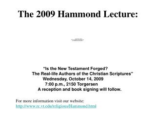 The 2009 Hammond Lecture: