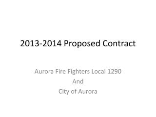 2013-2014 Proposed Contract
