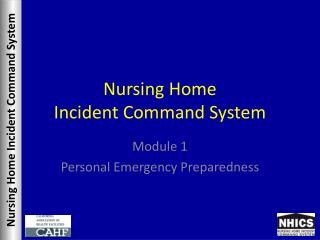 Nursing Home Incident Command System