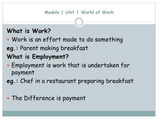 Module 1 Unit 1 World of Work