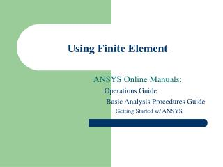 Using Finite Element