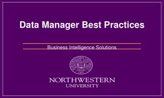 Data Manager  Best Practices