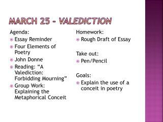 March 25 -  Valediction