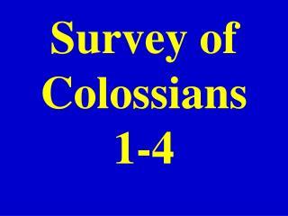 Survey of Colossians 1-4
