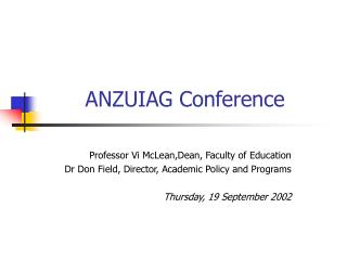 ANZUIAG Conference