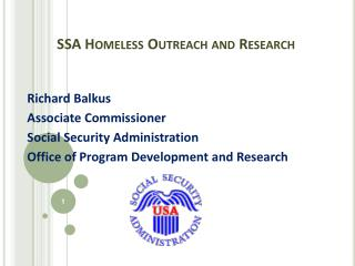 SSA Homeless Outreach and Research
