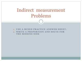 Indirect  measurement Problems