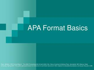 APA Format Basics