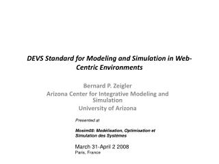 DEVS Standard for Modeling and Simulation in Web-Centric Environments