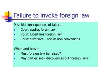 Failure to invoke foreign law