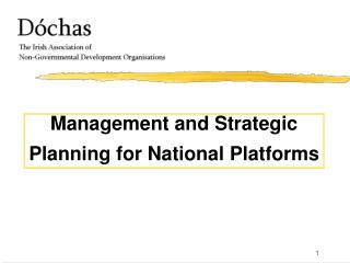 Management and Strategic  Planning for National Platforms