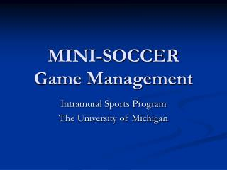 MINI-SOCCER Game Management