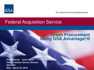 Green  Procurement Using GSA  Advantage! ®