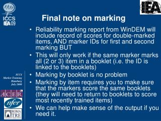Final note on marking