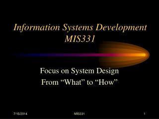 Information Systems Development MIS331