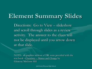 Element Summary Slides