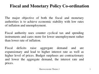 Fiscal and Monetary Policy Co-ordination