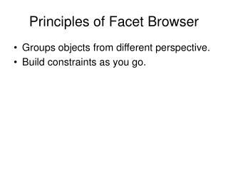 Principles of Facet Browser